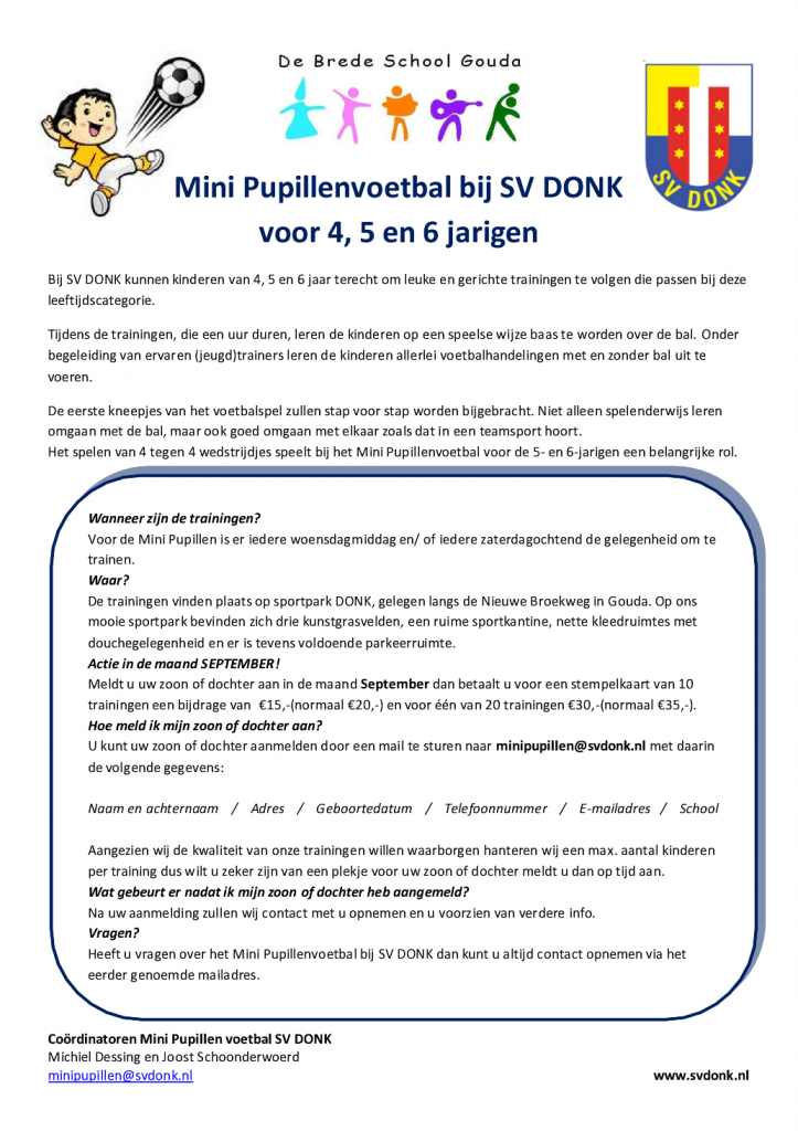 Flyer Mini Pupillenvoetbal SV DONK Bredeschool september 2015