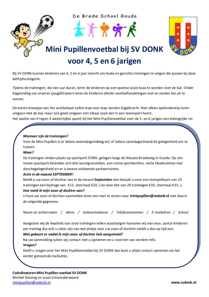 Flyer Mini Pupillenvoetbal SV DONK Bredeschool september 2015